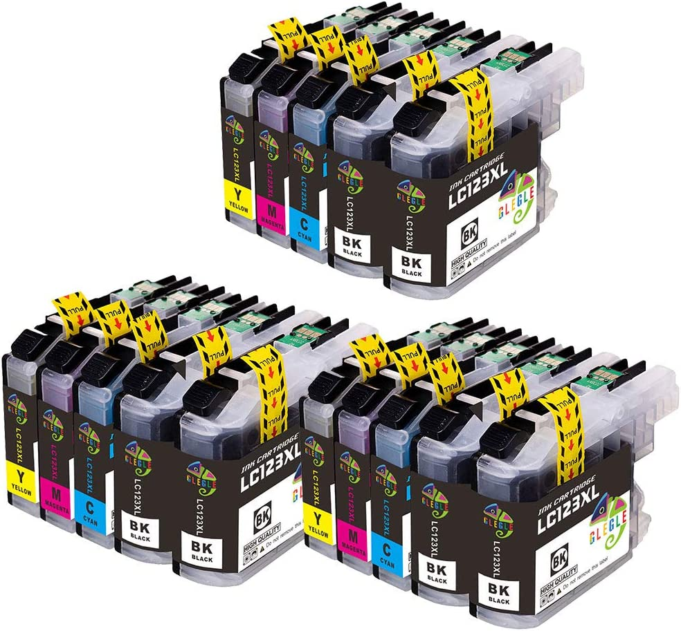 Glegle Replacement Ink Cartridges For Brother Lc123 Dcp J132w J152w J552dw J752dw J4110dw Mfc J245 J470dw J870dw J6520dw J6920dw J4410dw And J4510dw 6 Black 3 Cyan Magenta 3 And 3 Yellow Bürobedarf