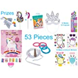 Unicorn Party Favors, Games & Activity Set for 12 Kids – 53 Pcs – Novelty Toys – Pin the Horn on the Unicorn & Ring Toss Game, Make a Unicorn Stickers, Color Your Own Mask with Crayons and Prizes