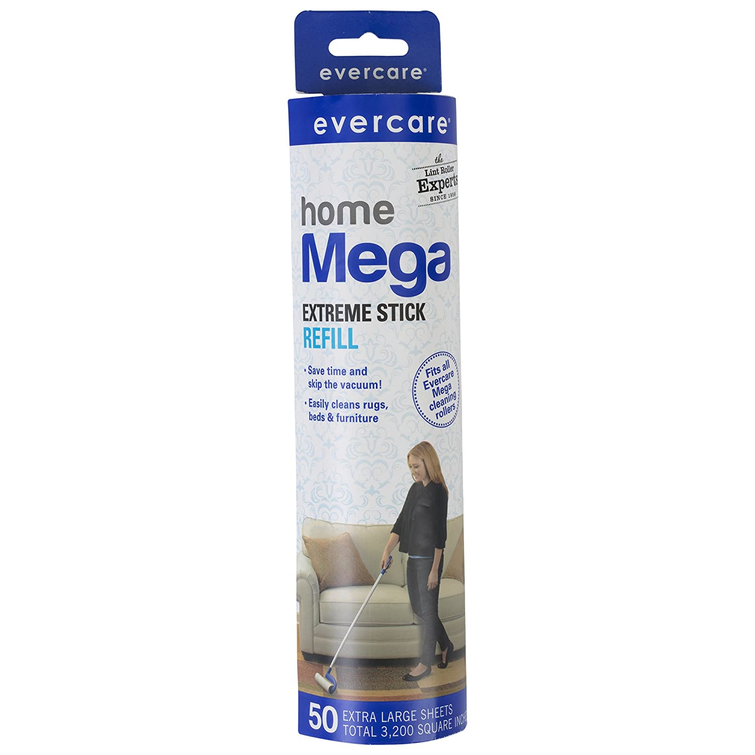 Evercare Large Surface Mega Pet Roller Refill, 50 Layers