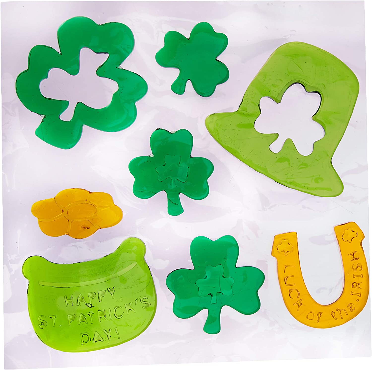 DISCONTINUED St Patricks Day Gel Window Clings Rainbow Gold Shamrock Reusable 11