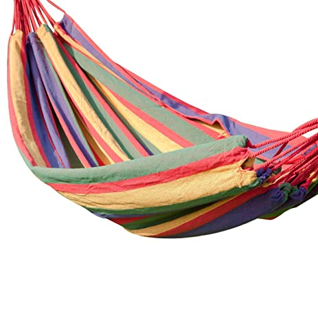 adeco naval style cotton fabric canvas hammock tree hanging suspended outdoor indoor bed cayenne color amazon     adeco naval style cotton fabric canvas hammock tree      rh   amazon