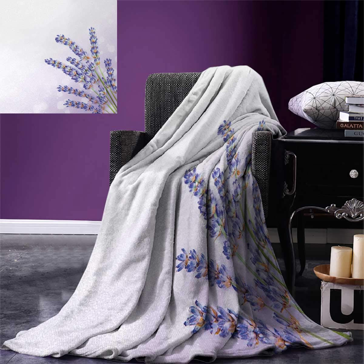 smallbeefly Lavender Digital Printing Blanket Little Posy Medicinal Herb Fresh Plant Purple Flower Spa Aromatheraphy Organic Summer Quilt Comforter 80''x60'' Lavander