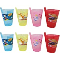 BigMart Cartoon Printed Glass Sipper with Straw (Random Colour), Pack of 6