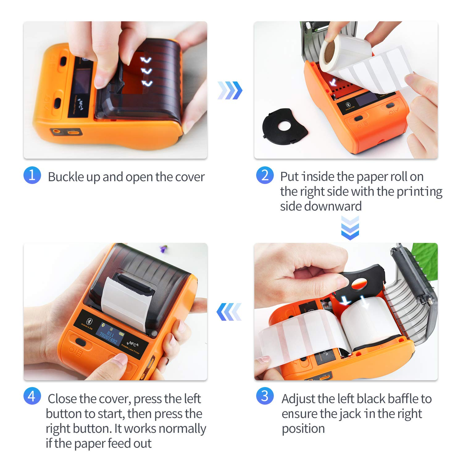 JINGCHEN B11 Bluetooth Portable Thermal Label Printer, Orange, Android & iOS, Wireless, Power & Communication, Computer-Room, Figures/Text/Images/barcodes, 1 roll for free (0.98x 1.50x1.57 in) 100 pcs by JINGCHEN (Image #7)