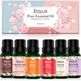 Essential Oils Set, ESSLUX Floral Collection with Rose, Neroli, Geranium, Freesia, Plum Blossom, Dark Tea Essential Oils, Perfect for Diffuser, Home Fragrance & Massage, 6x10 ML
