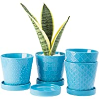 """BUYMAX Plant Pots Indoor –5""""inch Ceramic Flower Pot with Drainage Holes and Ceramic Tray - Gardening Home Desktop Office…"""