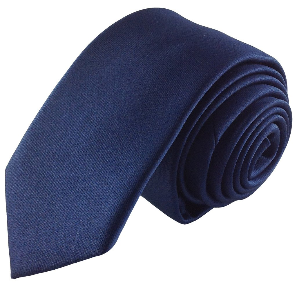 Boys Self Tie Necktie Solid Dark Navy Blue