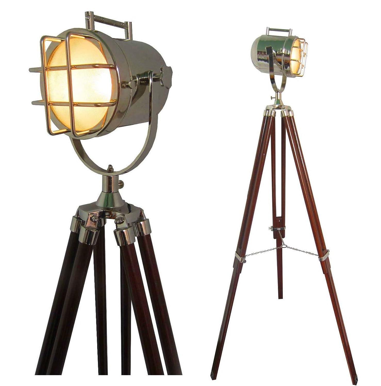 Designer Nautical Floor Lamp Vintage Marine Search Light W Teak