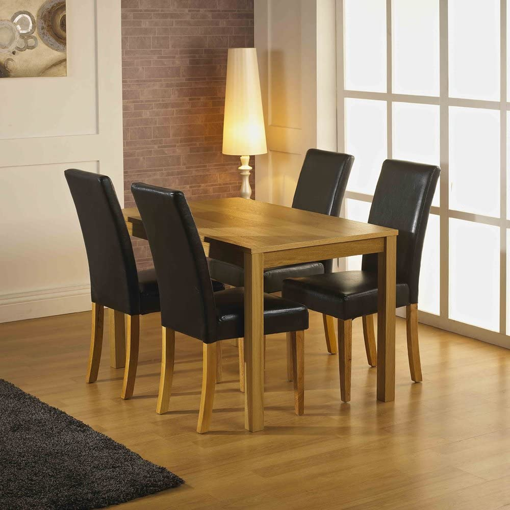 Santa Fe Dining Set 120cm Oak Veneer Dining Table With Four Stylish Black Faux Leather Chairs Only 197 Including Delivery Amazon Co Uk Kitchen Home
