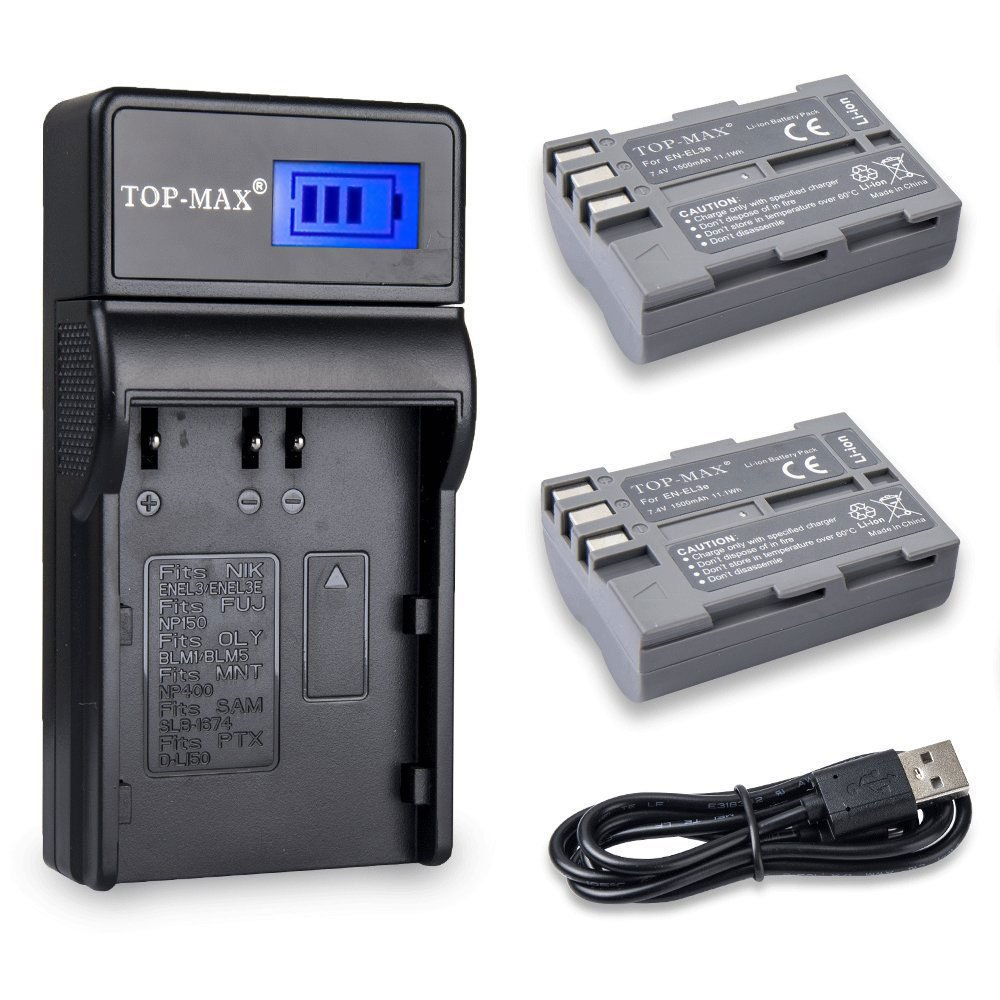 TOP-MAX 2-Pack EN-EL3e Battery with USB Charger LCD Screen for Nikon D80 D30 D50 D70 D70S D90 D100 D200 D300 D300S D700