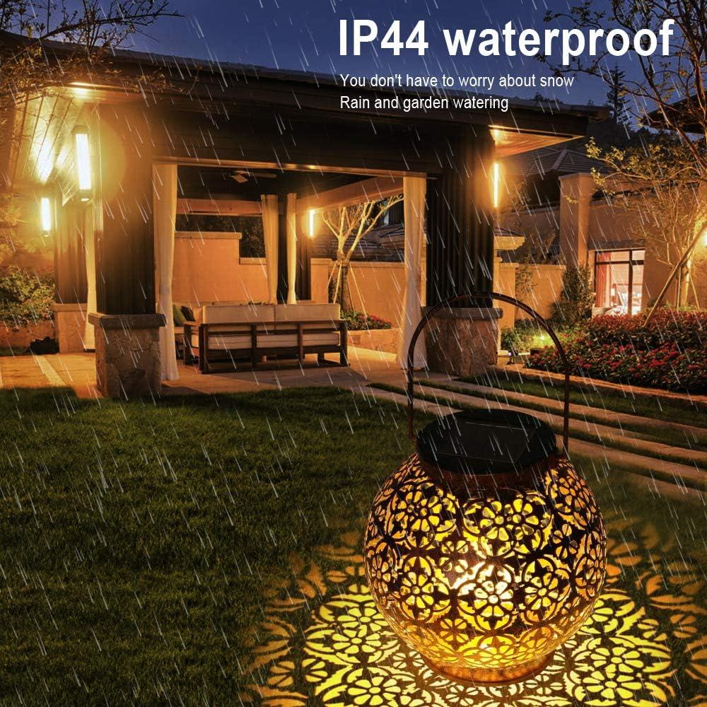 Outdoor Hanging Lights Garden Lamp Metal Waterproof IP44 LED Table Lamp Night Light Decorative for Porch Lawn,Patio MMTX Solar Lantern Courtyard Pathway Backyard