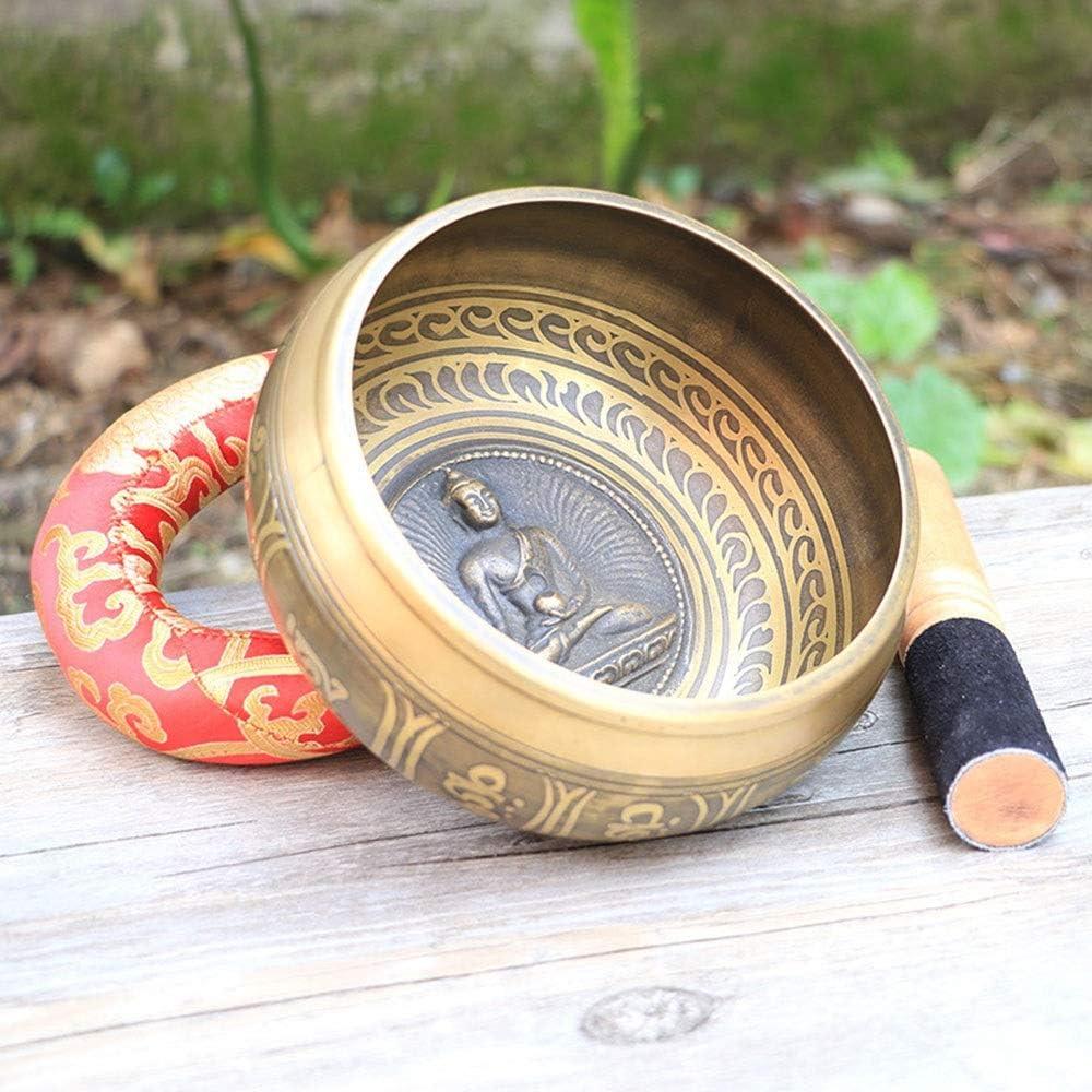 シンギングボウル プレミアムブラスハンドメイドヨガサウンドボウル瞑想ボウルハイビスカスとクッションを備えた釈ky仏チベットの歌Bowlセット 瞑想ボウル (Color : Brass, Size : 16.5x8.5cm)