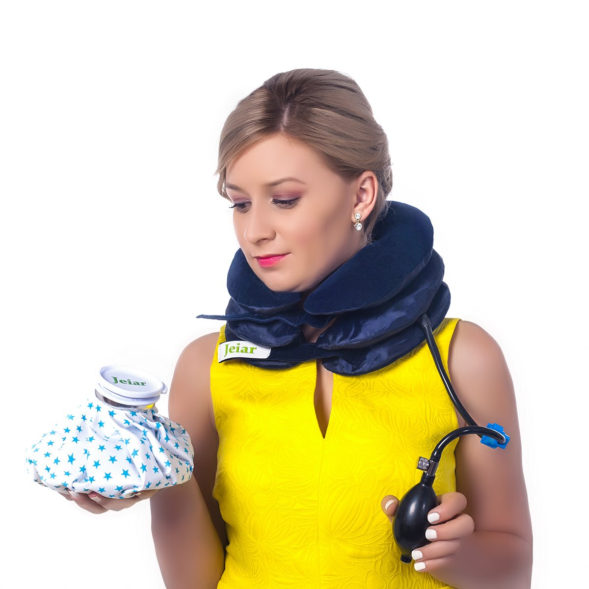 Jeiar Cervical Traction Device - Inflatable & Adjustable for Best Spinal Decompression Stretch for The Neck in The Home + Water Bag - Great Remedy to Relieve Neck, Head and Shoulder Pain
