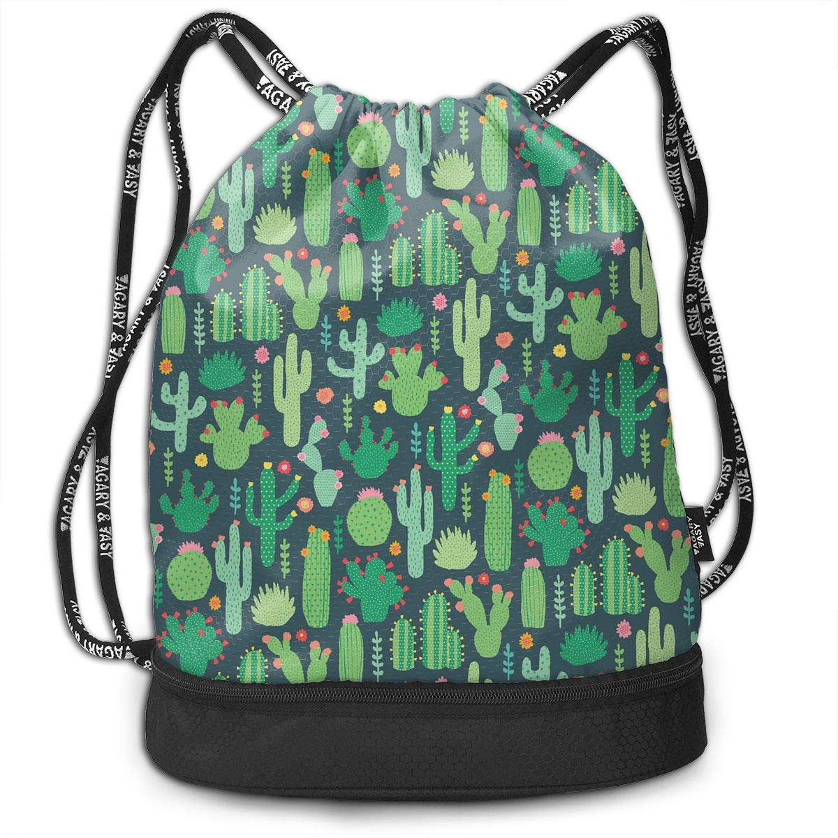 HUOPR5Q Cute Cactus Drawstring Backpack Sport Gym Sack Shoulder Bulk Bag Dance Bag for School Travel
