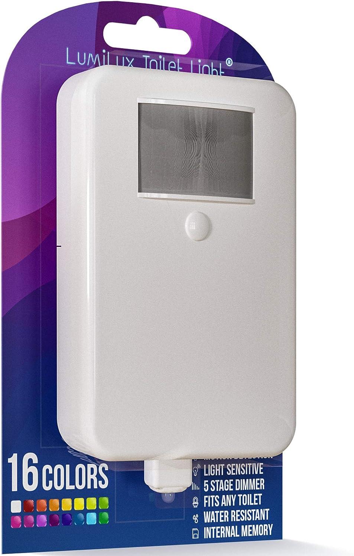 LumiLux Toilet Light Motion Detection - Advanced 16-Color LED Toilet Bowl Light, Internal Memory, Light Detection (White) - -