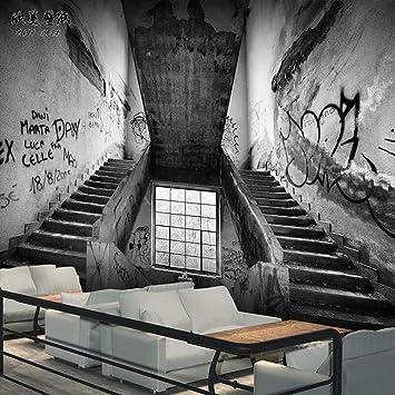 Personalidad Wallpaper_Wallpaper Escalera Space Cafe Internet Bar Bar Chamber CementWallpaper Mural de pared 3D pegar borde Papel Pintado Fotográfico Fotomural-150cm×105cm: Amazon.es: Bricolaje y herramientas