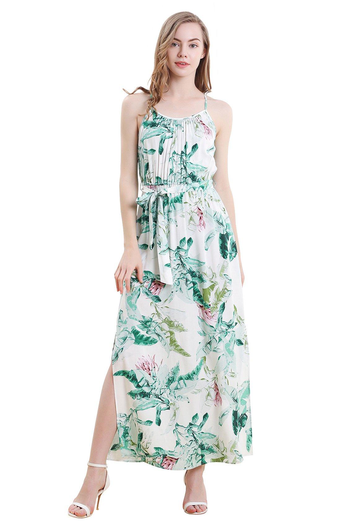 Vero Viva Women's Tropical Print Side Split Spaghetti Strap Maxi Dress with Belt(S,Green)