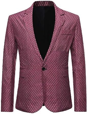 CRYYU Men Casual Slim Fit 1 Button Lapel Print Blazer Jacket Sport Coat