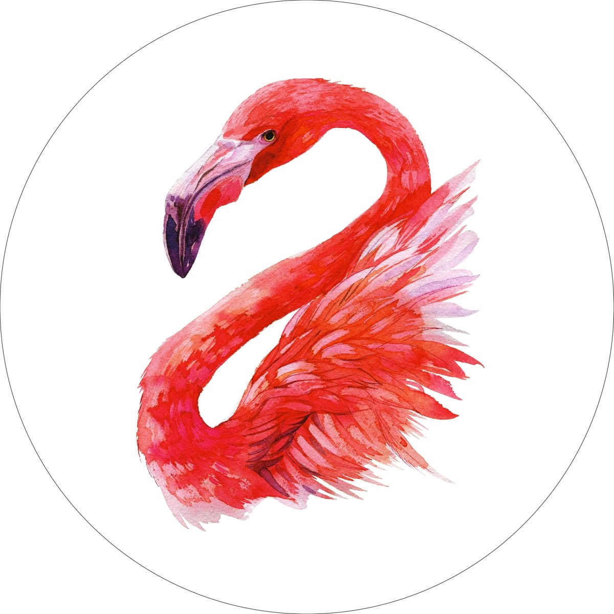 Flamingo Home Wall Shelf Decor Animal Decorations Watercolor Round Sign - 18 Inch, Metal