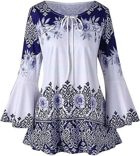 Camisas Mujer Tallas Grande Modaworld Moda Blusas De Manga Larga Estampadas Para Mujer Blusas Camisetas De Bocallave Blusas Elegantes Senoras Nina Primavera Otono Amazon Es Deportes Y Aire Libre