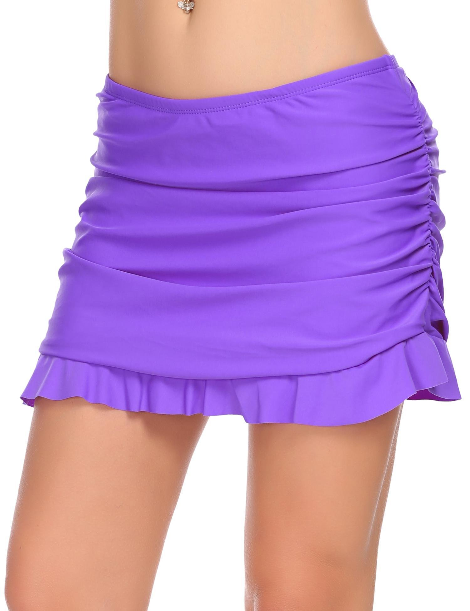 Ekouaer Skirted Bikini Bottom Womens Ruffled Bikini Skirt with Panty Swimwear (Black, Small)