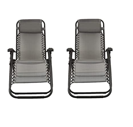 Sunny Days Hogar Juego de 2 sillas reclinables/Silla Gravedad Cero/Tumbonas de Jardin/Hamaca (Gris)