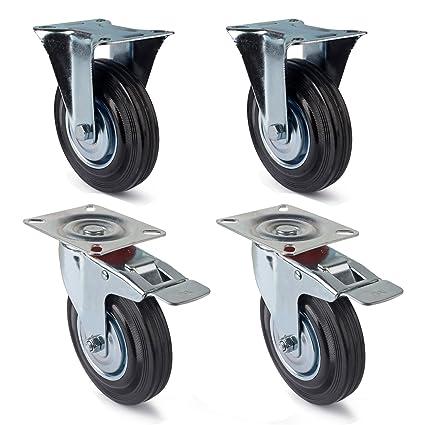 Ruedas giratorias de 4 piezas Juego de 125 mm (2 ruedas giratorias con freno de
