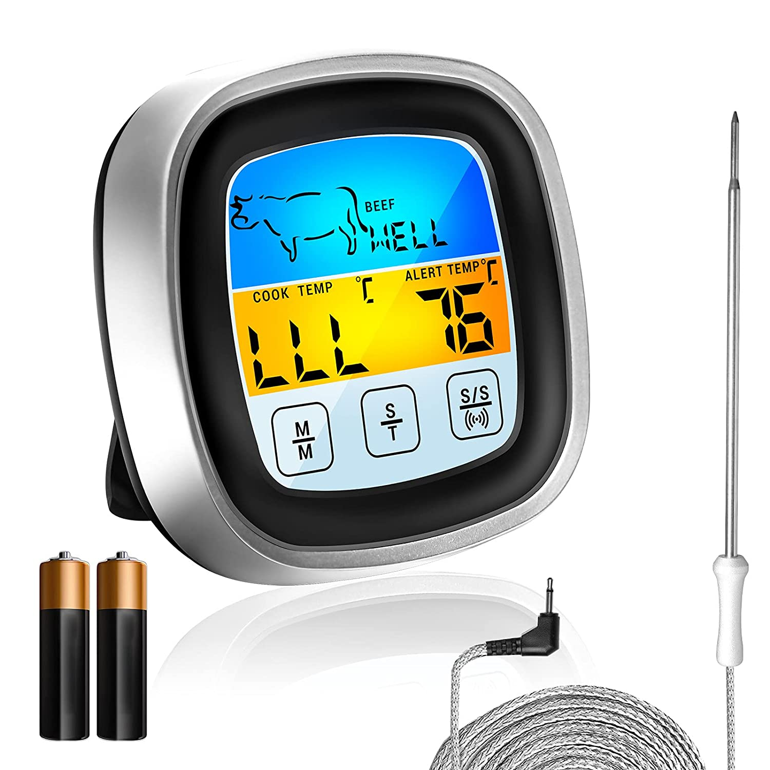 Instant Read Meat Thermometer, 8 Meats Modes and Timer Modes, Digital Color Touch Screen LCD Display with 40 inch Food Meat Thermometer for Cooking, Oven, BBQ, Frying Pan, Candy, Milk, Yogurt