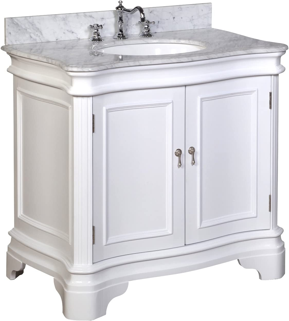 Katherine 36-inch Bathroom Vanity Carrara White Includes White Cabinet with Authentic Italian Carrara Marble Countertop and White Ceramic Sink