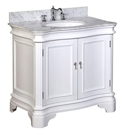 Kitchen Bath Collection KBC-A36WTCARR Katherine Bathroom Vanity with Marble  Countertop, Cabinet with Soft Close Function and Undermount Ceramic Sink,  ...
