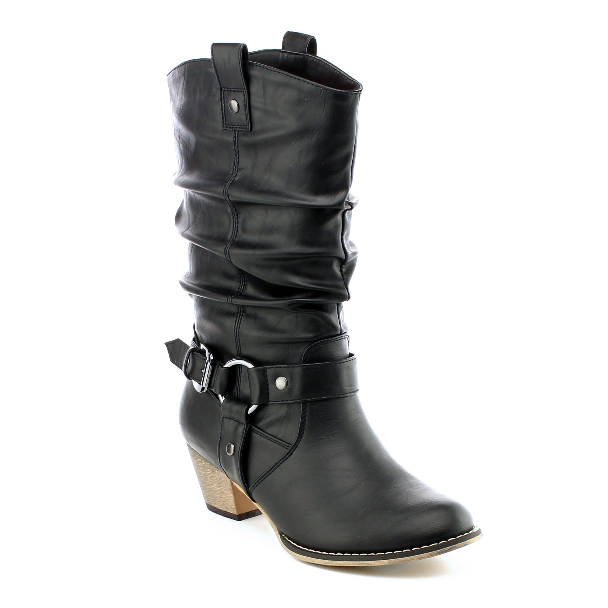 Women's Mid Calf Cowboy Boots Distressed Slouchy O-Ring Studded Pull on Block Heel Riding Boots Black 10