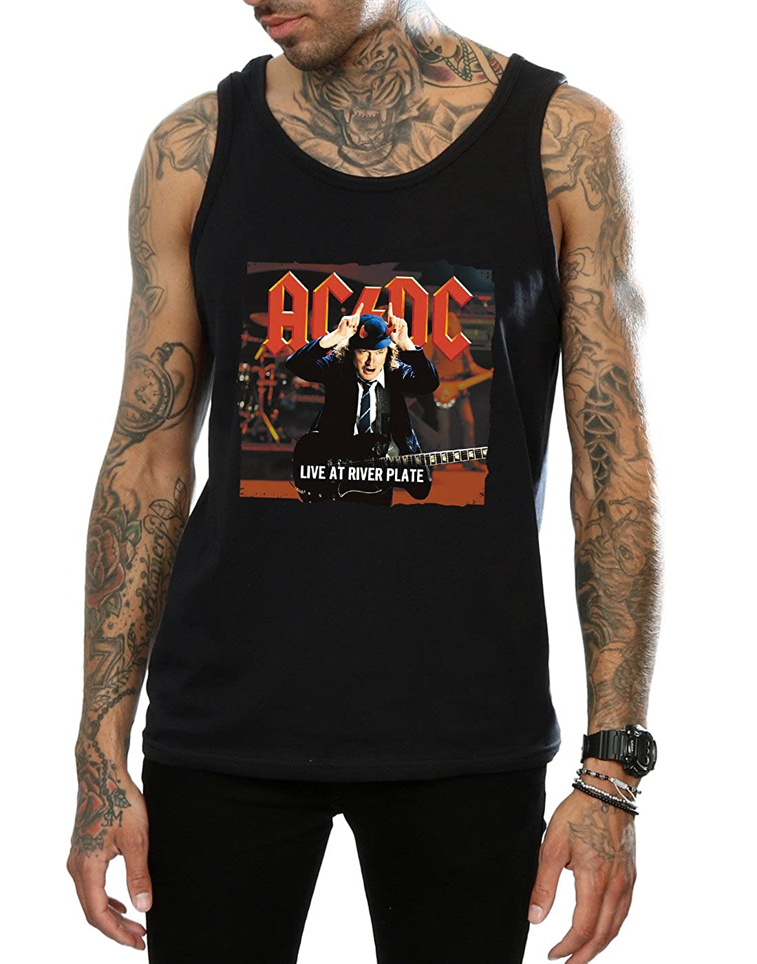 AC//DC Mens Live at River Plate Columbia Records Tank Top