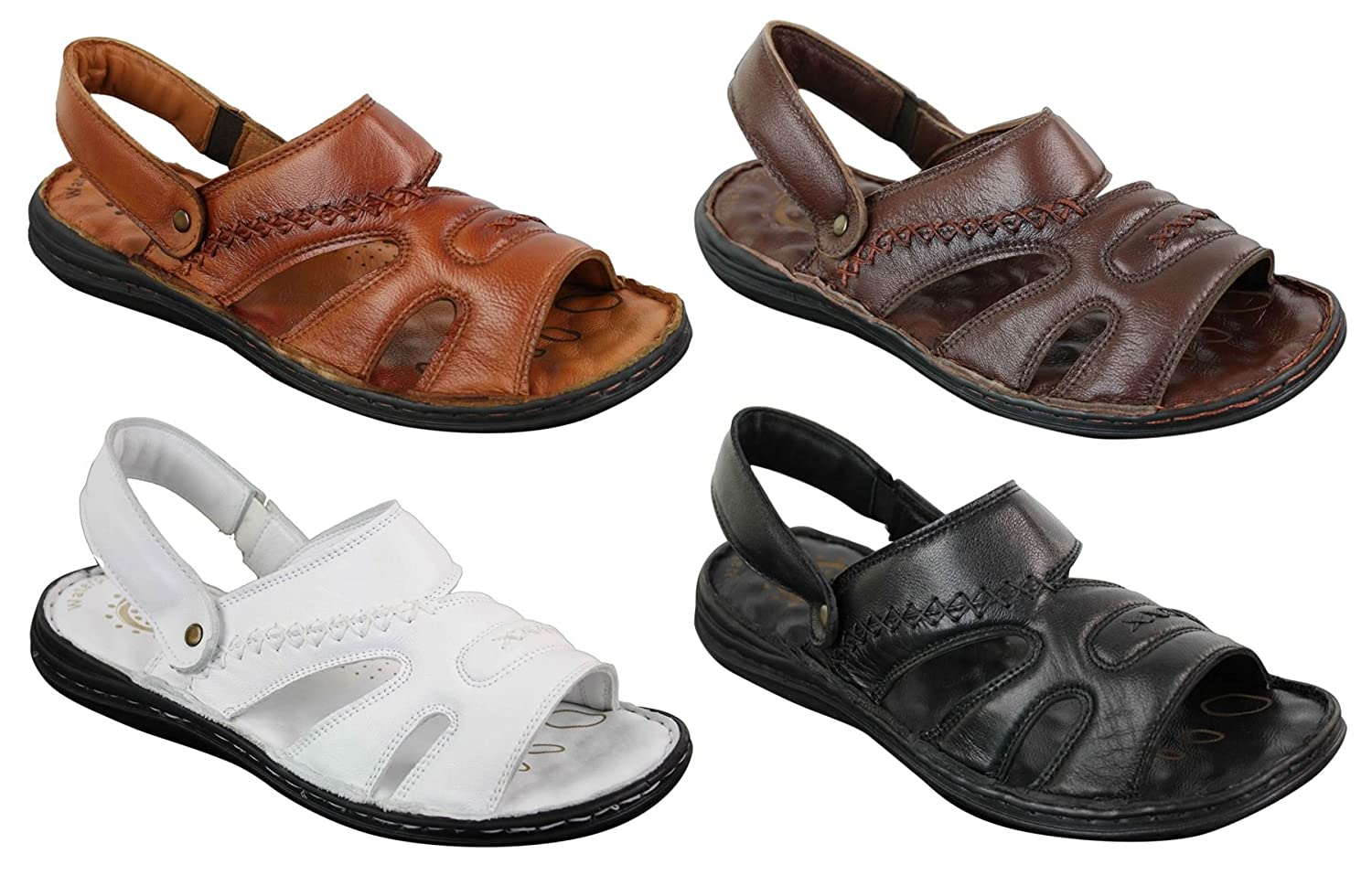 Wyndham Mens Strap Real Leather Walking Mules Slip On Sandals Premium Comfort Waterproof