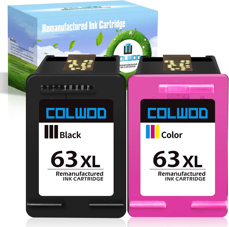 CLOWOD Remanufactured Ink Cartridge Replacement for 63 63XL use for OfficeJet 5255 3830 4650 5258 3832 DeskJet 2132 3630 3636 Envy 4525 4528 (1 Black + 1 Tri-Color)