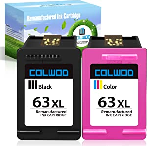 CLOWOD Remanufactured Ink Cartridge Replacement for 63 63XL use for OfficeJet 5255 3830 4650 5258 3832 DeskJet 2132 3630 3636 Envy 4525 4528 (1 Black + 1 Tri-Color)