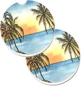 Caroline's Treasures 8551CARC Palm Tree Set of 2 Cup Holder Car Coasters, Large, multicolor
