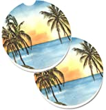 Caroline's Treasures Palm Tree Set of 2 Cup Holder Car Coasters 8551CARC, 2.56, Multicolor