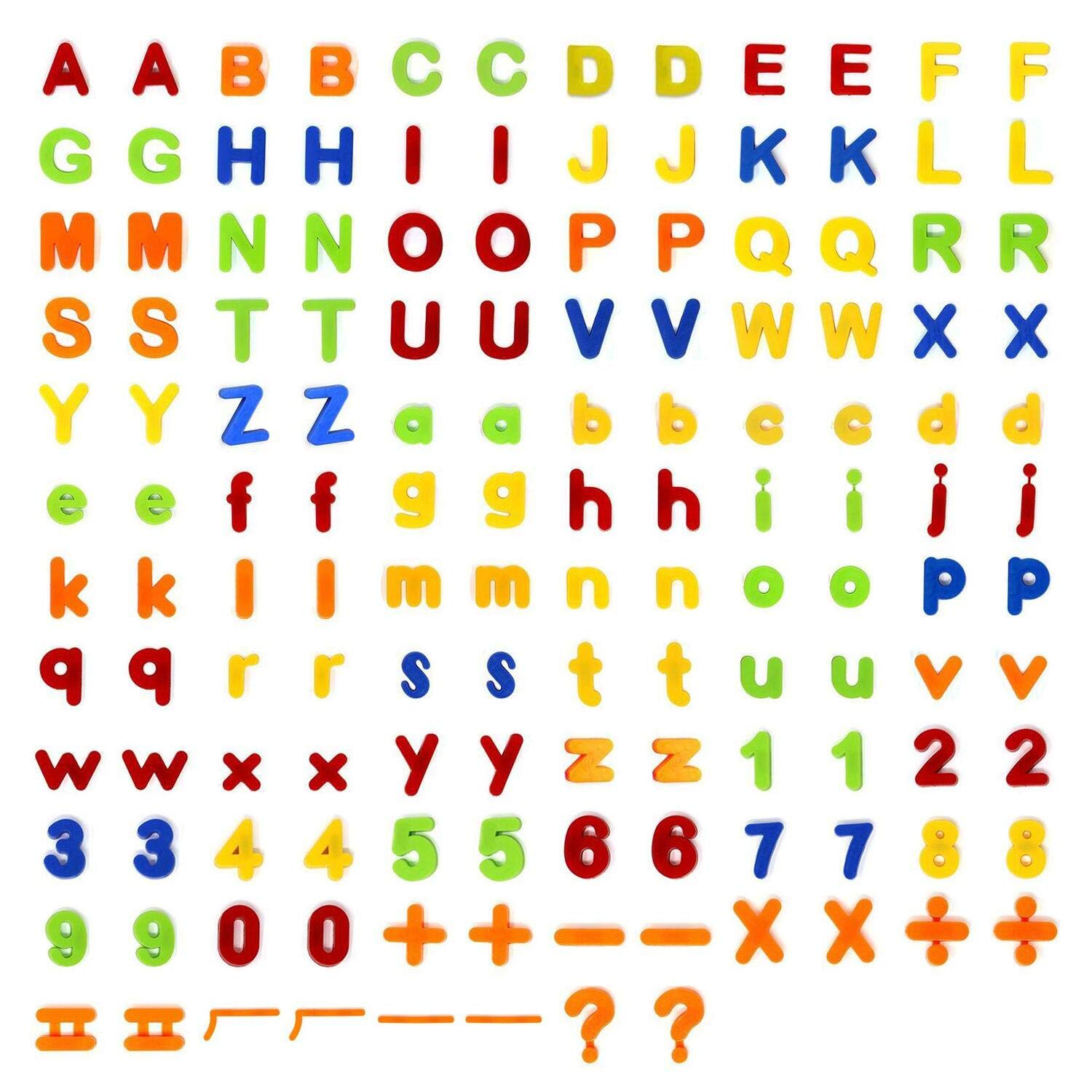 160Pcs Magnetic Letters Alphabet Numbers Learning Toy for Learning, Spelling, Counting, Including 52pcs Upper Case Letters, 52pcs Lower Case Letters, 40pcs Magnetic Numbers and 16pcs Symbols CHUN1006