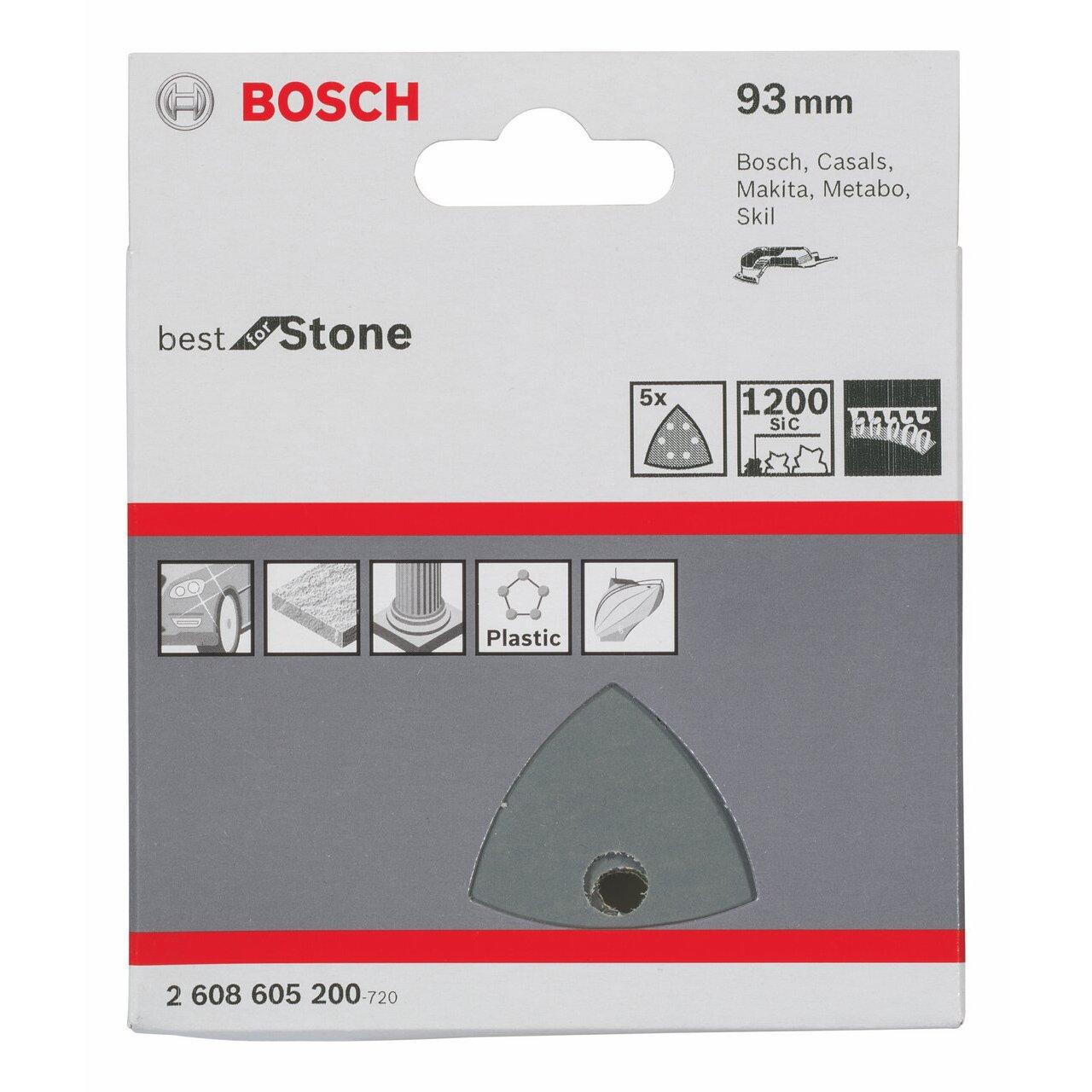 Bosch Professional Schleifblatt f/ür Dreieckschleifer und Multi-Cutter 5 St/ück, 93 mm, K/örnung 1200, F355