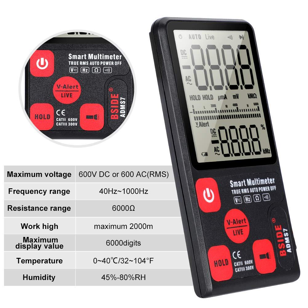 Multim/ètre Testeur Grand Ecran LCD Num/érique de Poche Portable Tension//Courant//Fr/équence Automatique 6000 Comptes avec 2 Fils de Test Multim/ètre Sondes Kit de PochePour la Maison L/école