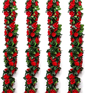 Musdoney 4 Pack 32.2 FT Fake Rose Vine Flowers Plants Artificial Flower Hanging Rose Ivy Home Hotel Office Wedding Party Garden Craft Art Decor (Red)