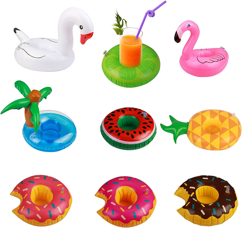 KATOOM Mini Flotador 9pcs para sostenedor Bebida de Flotador Hinchable Piscina Fiesta de Unicornio inflador o Juguetes hinchables de niños