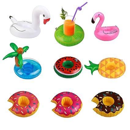 3x Getränkehalter Aufblasbar Badespielzeug Pool Schwimm Trinkhalter Flamingo Kinderbadespaß