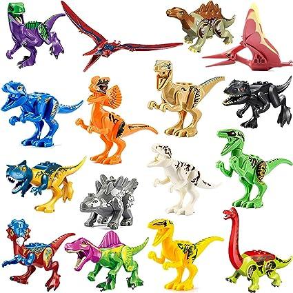 Jurassic Mini Dinosaur Toys Assembled Puzzle Building Blocks 16pcs for Kids