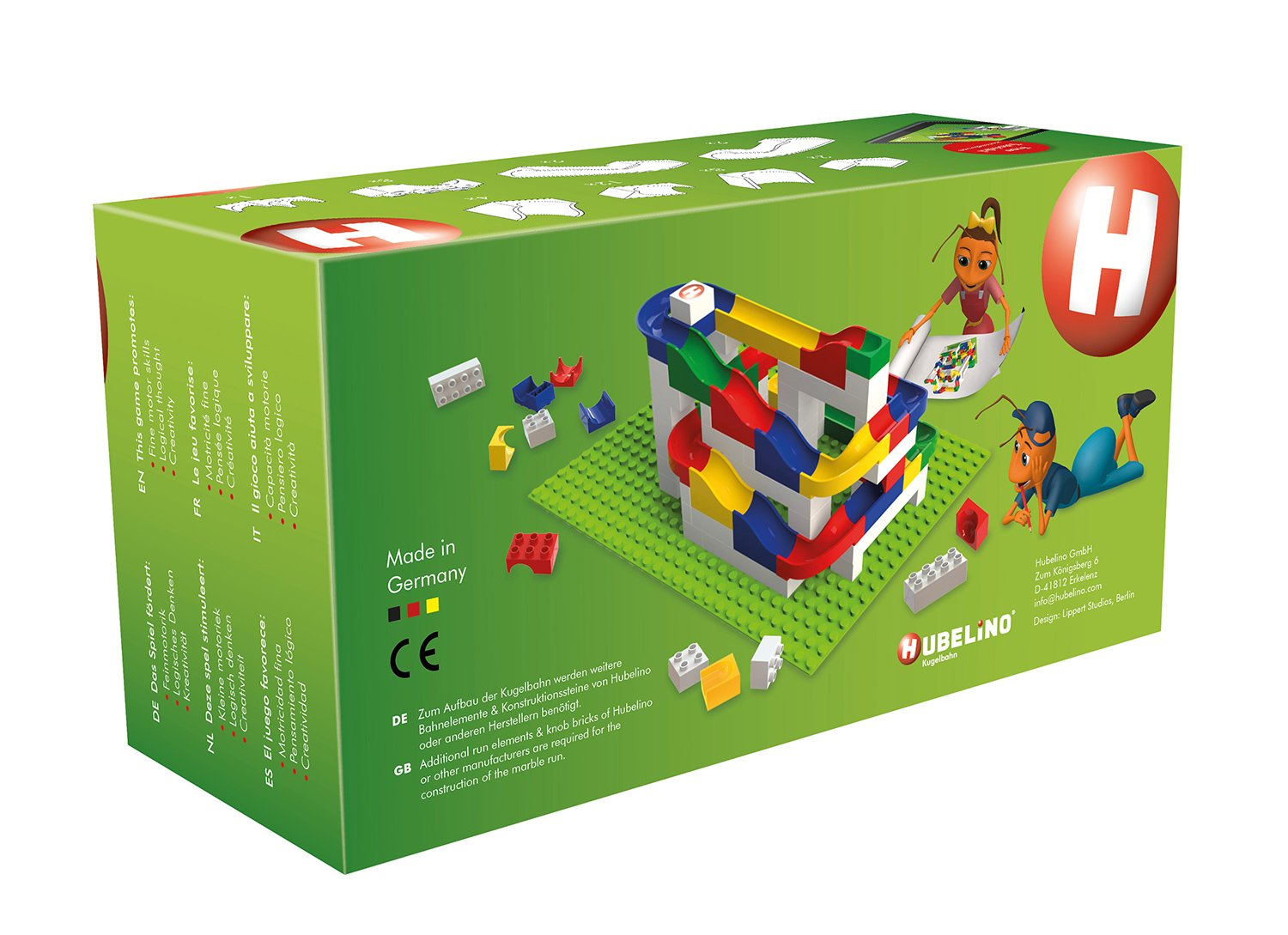 Certified and Award-Winning Marble Run 39-Piece Run Elements Expansion Set 2016 Hubelino Marble Run 100/% compatible with Duplo 420343 the Original Made in Germany!