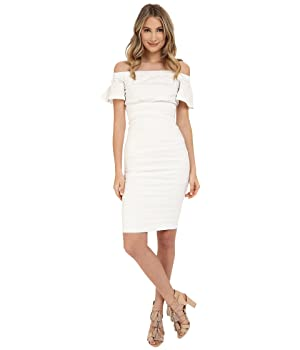 Nicole Miller Women's Natalia Off-Shoulder Cotton Metal Dress White Dress 6