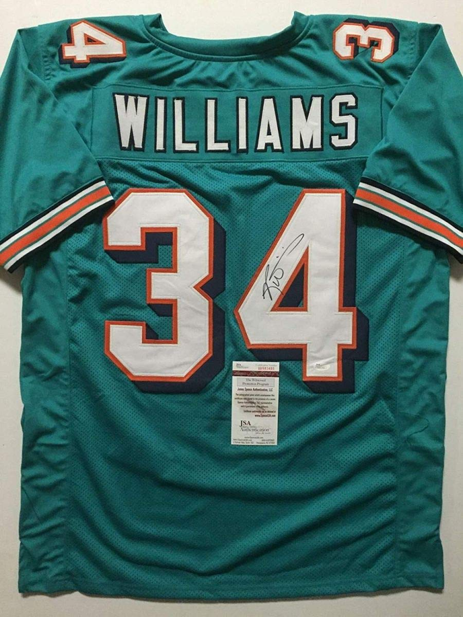 Autographed/Signed Ricky Williams Miami Teal Football Jersey JSA COA