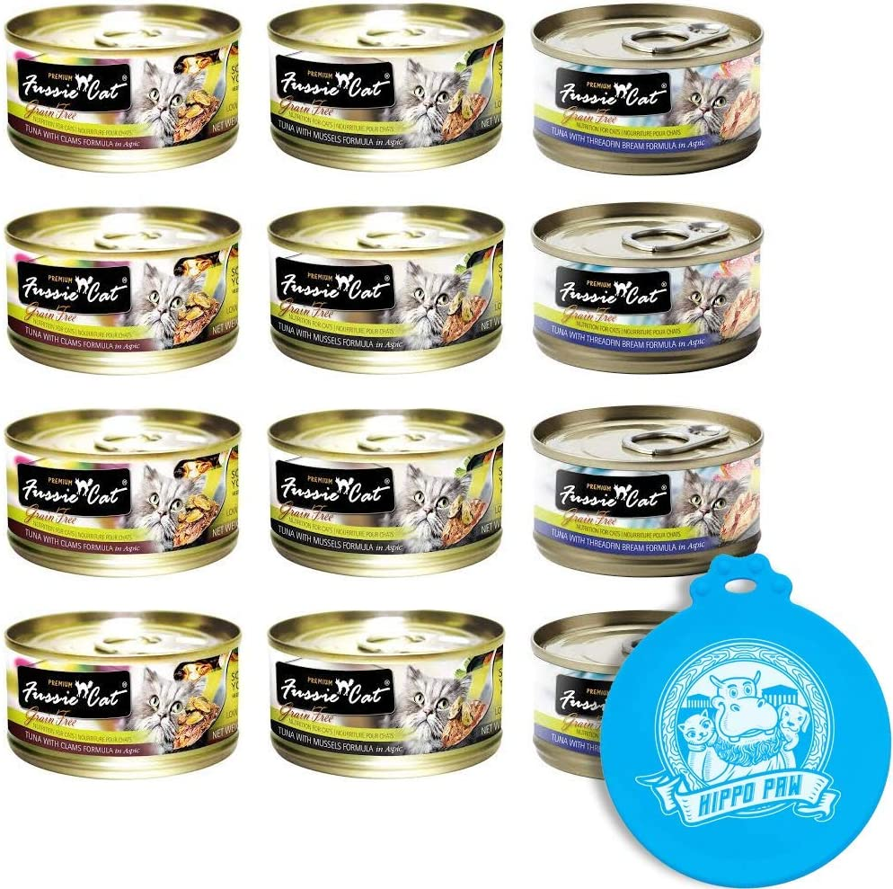 Fussie Cat Premium Can Wet Food Variety 12 Pack (4) Tuna with Clams, (4) Tuna with Mussels, (4) Tuna with Threadfin Bream 2.82 oz Cans with Hippo Paw Silicone Universal Can Cover Assorted Color/Design