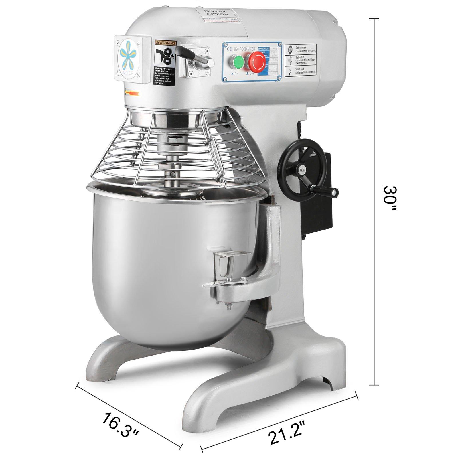 Happybuy Commercial Food Mixer 750W Dough Mixer Maker 3 Speeds Adjustable Commercial Mixer Grinder 94/165/386 RPM Stand Mixer (20 qt) by Happybuy (Image #6)