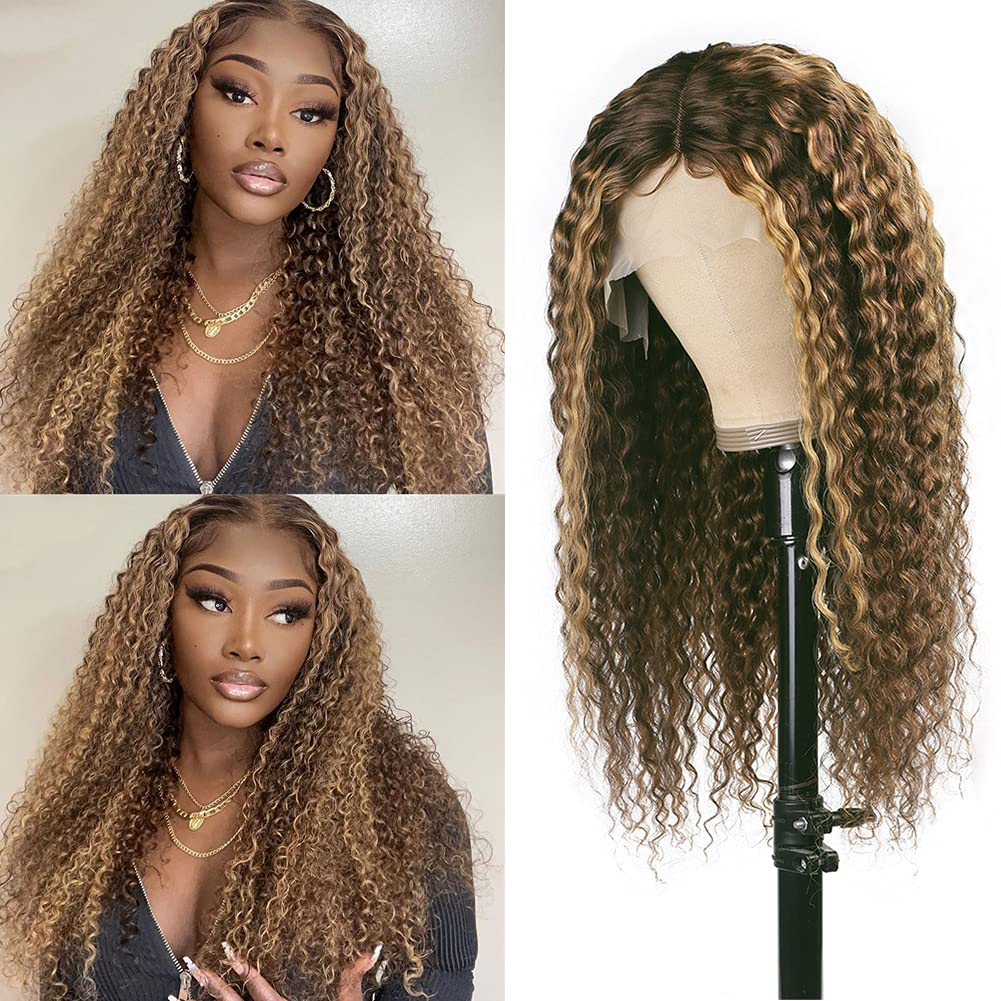 Long Beach Mall Max 58% OFF Deep Wave Human Hair Wigs 13X4X1 T Pluck Curly Pre Wig Part Lace